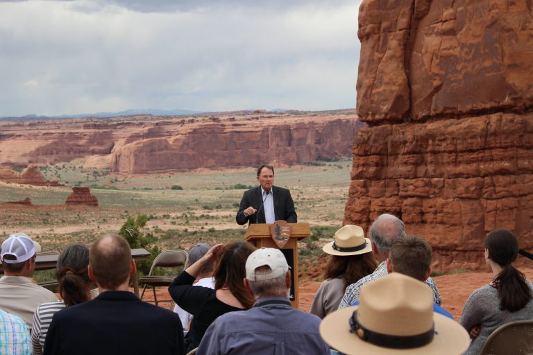 Governor Herbert speaks during a reserved water rights signing event at Arches National Park
