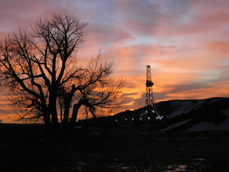 Sunset view of an oil station in the Vernal basin
